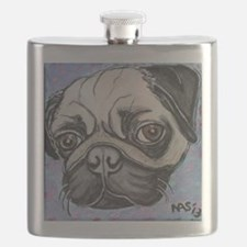 """In your face"" pug by Artwork by NikiBug Flask"