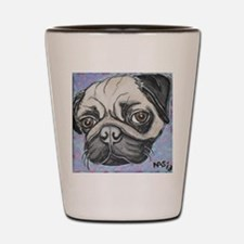 """""""In your face"""" pug by Artwork by NikiBu Shot Glass"""