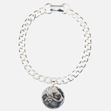 """In your face"" pug by Ar Charm Bracelet, One Charm"