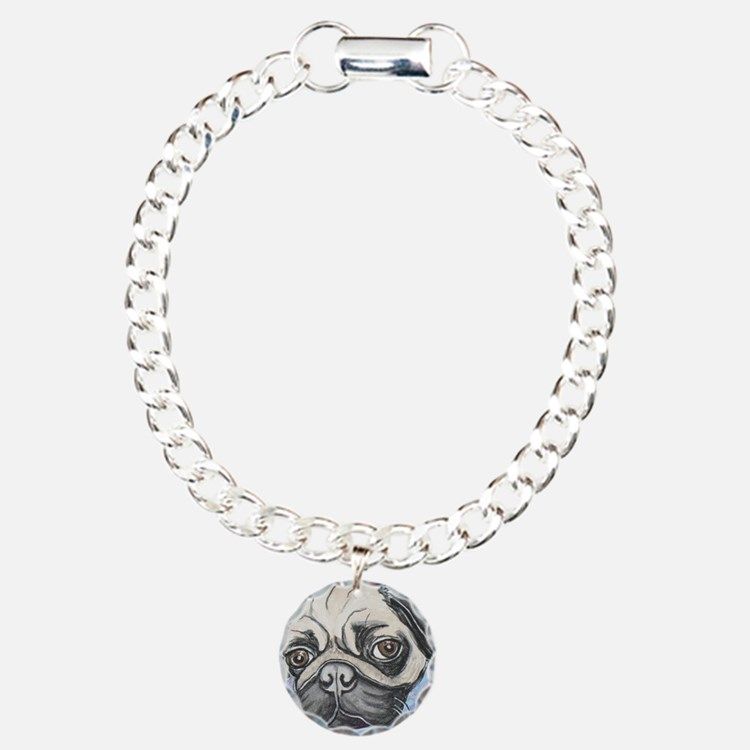 """""""In your face"""" pug by Ar Charm Bracelet, One Charm"""