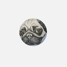 """In your face"" pug by Artwork by NikiB Mini Button"