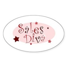 """""""Sales Diva"""" [red] Oval Decal"""