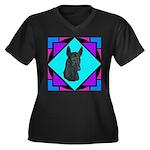Xolo design Women's Plus Size V-Neck Dark T-Shirt