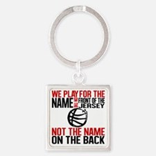 We Play - Basketball Square Keychain