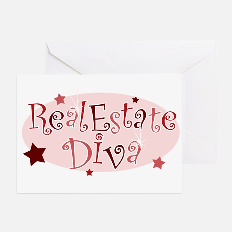 """""""Real Estate Diva"""" [red] Greeting Cards (Package o"""