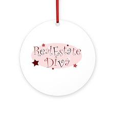 """Real Estate Diva"" [red] Ornament (Round)"