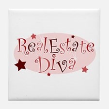"""Real Estate Diva"" [red] Tile Coaster"