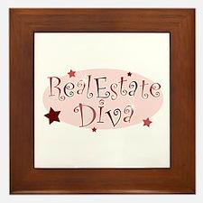 """""""Real Estate Diva"""" [red] Framed Tile"""