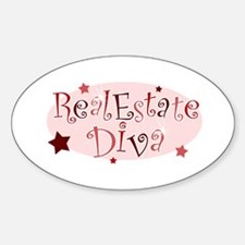 """Real Estate Diva"" [red] Oval Decal"