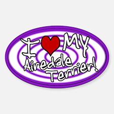 Hypno I Love My Airedale Oval Sticker Purp