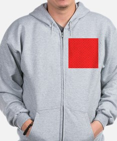 White Hearts on Red Zip Hoodie