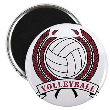 """Volleyball Red Trophy 2.25"""" Magnet (100 pack)"""