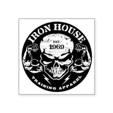 "Iron House Muscle Skull Square Sticker 3"" x 3"""