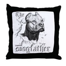 The Pit Bull Dog Father Throw Pillow
