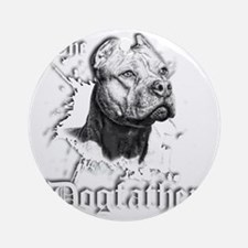 The Pit Bull Dog Father Round Ornament