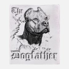 The Pit Bull Dog Father Throw Blanket