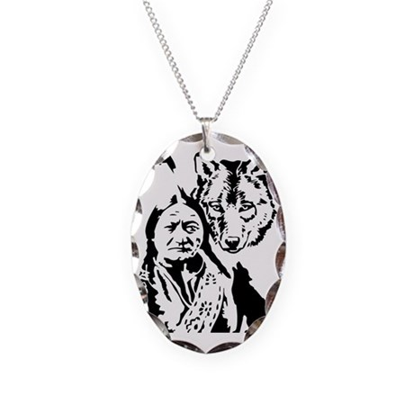 Indian and wolf Necklace Oval Charm