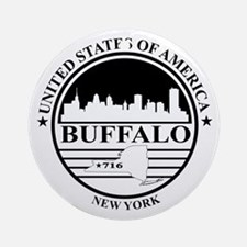 Buffalo logo white and black Round Ornament