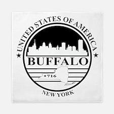 Buffalo logo white and black Queen Duvet