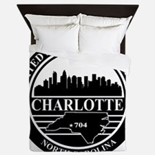 Charlotte logo black and white Queen Duvet
