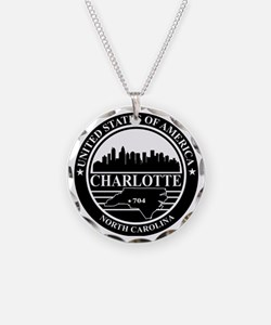 Charlotte logo black and whi Necklace