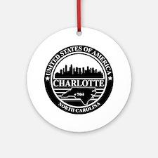 Charlotte logo black and white Round Ornament