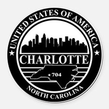 Charlotte logo black and white Round Car Magnet