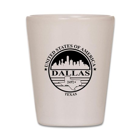 Dallas logo white and black Shot Glass
