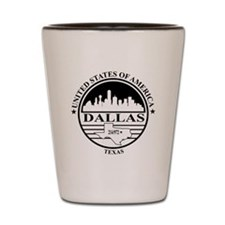 Dallas logo white and black Shot Glass