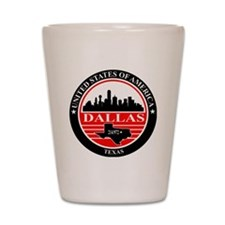 Dallas logo black and red Shot Glass