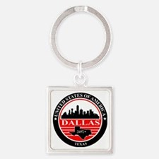 Dallas logo black and red Square Keychain