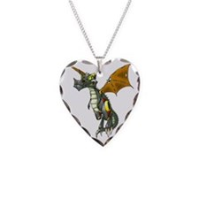 Mechanical Dragonling Decal Necklace Heart Charm