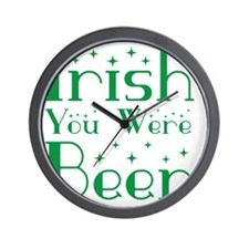 Irish You Were Beer Stars Wall Clock