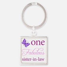 One Fabulous Sister-In-Law Square Keychain