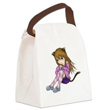 Chibi Cat Canvas Lunch Bag