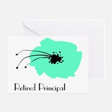 Retired Principal Blue Flower Greeting Card