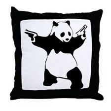 Panda guns Throw Pillow