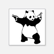 "Panda guns Square Sticker 3"" x 3"""