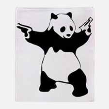 Panda guns Throw Blanket