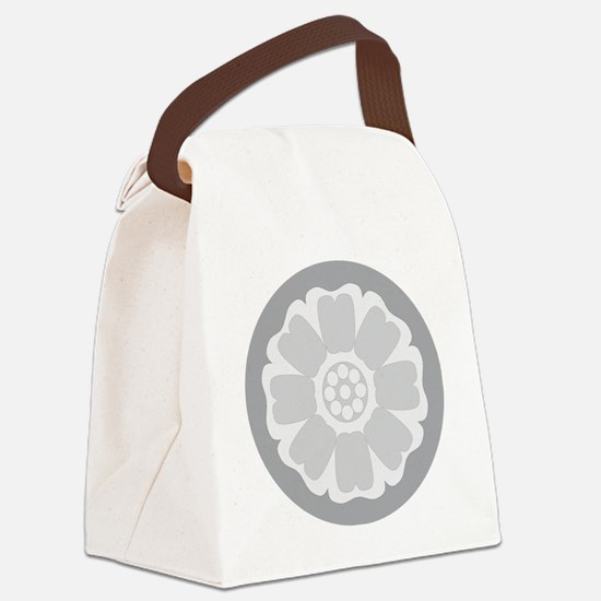 White Lotus Tile Canvas Lunch Bag