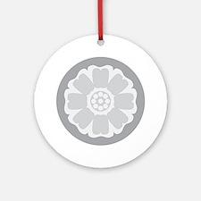 White Lotus Tile Round Ornament