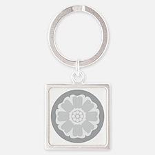 White Lotus Tile Square Keychain