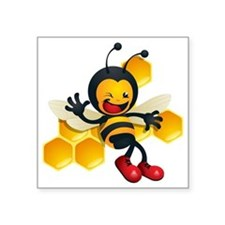 "cute baby honey bumble bee  Square Sticker 3"" x 3"""