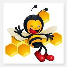 "cute baby honey bumble b Square Car Magnet 3"" x 3"""