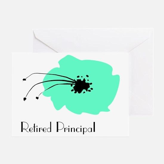 Retired Principal Blue Flower Greeting Card