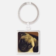 Adorable fawn pug puppy face Square Keychain