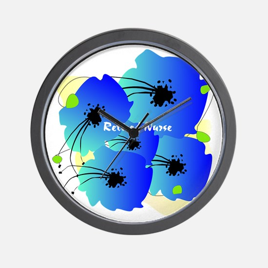 Retired Nurse Blue Flowers Wall Clock