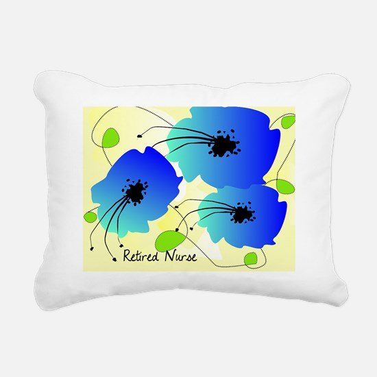 Retired Nurse Blue flowe Rectangular Canvas Pillow