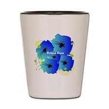 Retired Nurse Blue Flowers Shot Glass