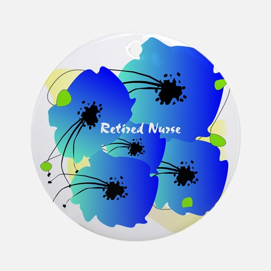 Retired Nurse Blue Flowers Round Ornament